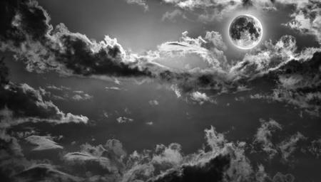 romantic sky: Dark haunted night sky with full moon Stock Photo