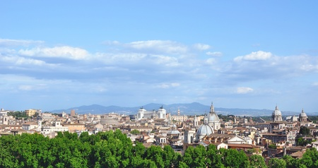 Rome historic center city skyline as seen from Castel Sant Angelo