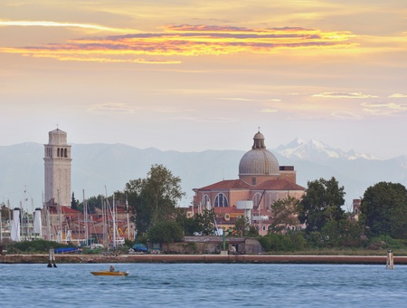pietro: Sunrise over San Pietro di Castello and the 16th century basilica in Venice, Italy