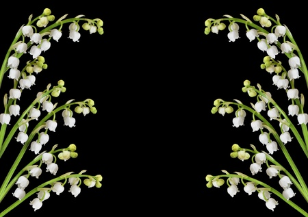 Lily of the valley background with copy space in center for text