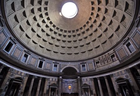 Roman Pantheon architectural interior detail and dome Editorial