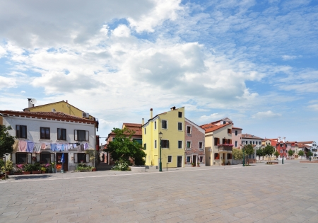 row of houses: row of colorful residential houses in Venice, Italy Stock Photo