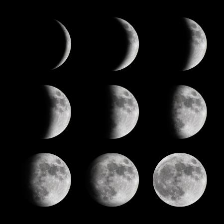 noche y luna: Fases de la luna de nuevo a pleno