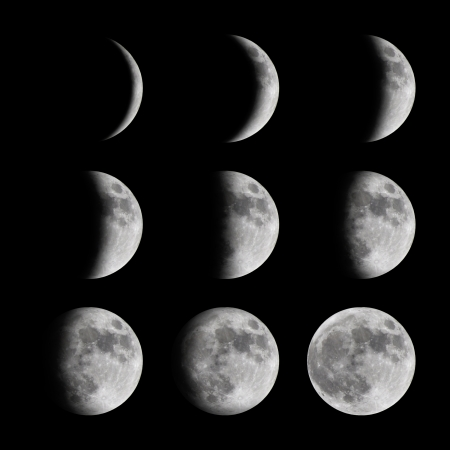 moon crater: Phases of the moon from new to full