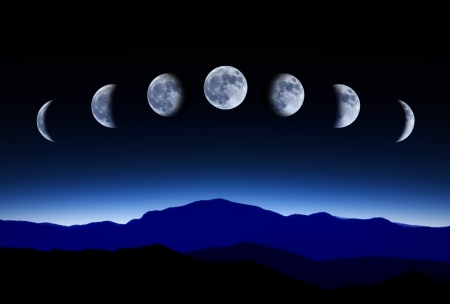 phase: Moon lunar cycle in night sky, time-lapse concept