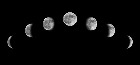 Mondphasen von Crescent zur Hälfte voll Standard-Bild