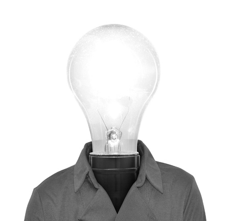 Technology innovation concept; light bulb man with bright idea photo