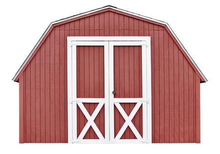 納屋スタイル ユーティリティ ツールの庭農機具、白い背景で隔離の小屋
