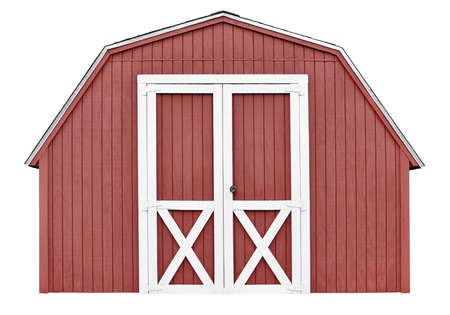 Barn style utility tool shed for garden and farm equipment, isolated on white background photo