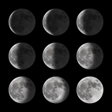 timelapse: Set of moon phases for new, half, and full Stock Photo
