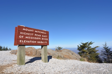highest: Mount Mitchell sign marking the highest peak east of the Mississippi River, at 6684 feet