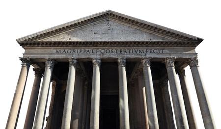 derecho romano: Fachada y pilares del antiguo Panteón Romano, aislados en fondo blanco