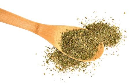 marjoram: Marjoram leaves dried for food seasoning, on white background.