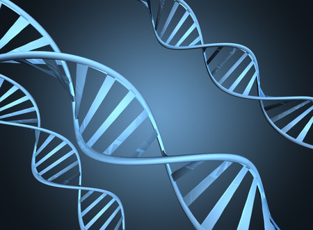 Genetics concept depicting magnified double helix DNA strands photo
