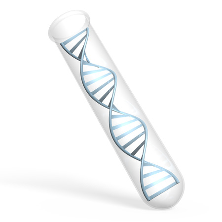 double helix: Genetic research concept of human DNA inside a lab test tube