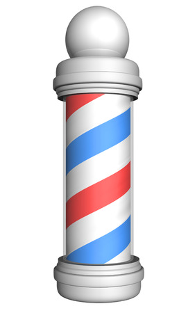Old-fashioned barber pole with red, white, and blue stripes rendered in 3D photo
