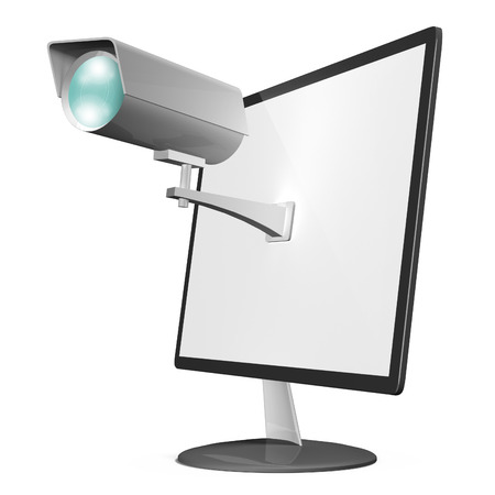 Online privacy and internet security concept, depicting a surveillance camera mounted on a computer monitor photo