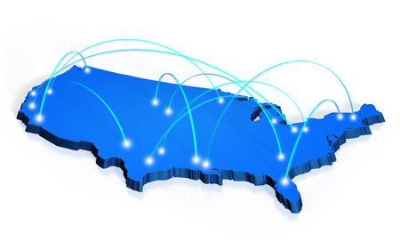 logistics world: Network coverage map of United States Stock Photo