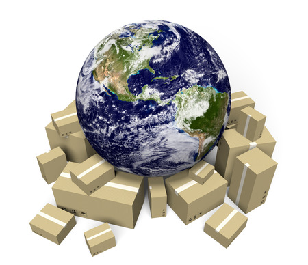 Global shipping and delivery courier service, parts of this image furnished by NASA photo