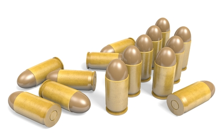 45 caliber: Pistol .45 caliber bullets rendered in 3D Stock Photo
