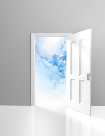 beyond: Door to heaven, spirituality and enlightenment concept of an open doorway to dreamy clouds Stock Photo