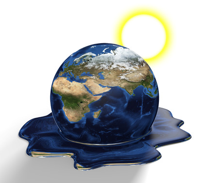 Conservation concept of Earth melting from climate change and global warming, parts of this image furnished by NASA Stock Photo