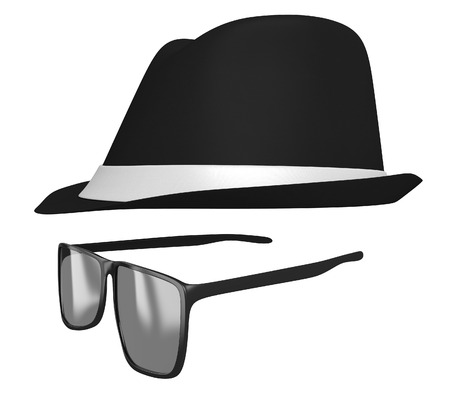 Identity concept of a retro fedora hat and dark glasses disguise photo