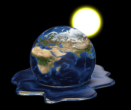 Environmental disaster concept of Earth melting under the sun.