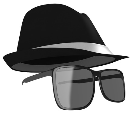 Dark glasses and black hat disguise for a detective or spy photo