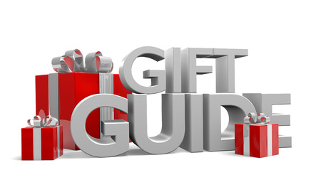 Gift guide text and three red Christmas gifts wrapped in silver ribbons Stock Photo