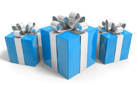 giftbox: Three gifts wrapped in blue paper and tied with silver ribbon bows