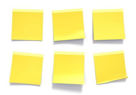 white  background: Conjunto de notas adhesivas amarillas se utilizan en una oficina para los recordatorios e informaci�n importante