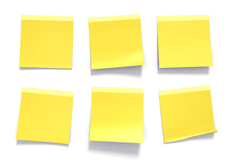 white background: Set of yellow sticky notes used in an office for reminders and important information