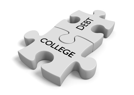 Student financial aid concept of puzzle pieces locked together with the words college debt Stock Photo