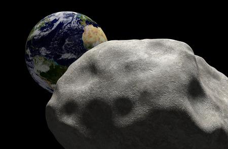 Concepto de extinción en masa de un cometa en el espacio dirigido para el impacto con el planeta Tierra