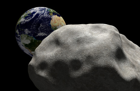 Mass extinction concept of a comet in space headed for impact with planet Earth photo