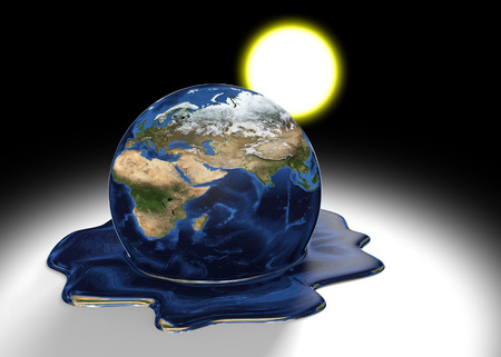 hot climate: Global warming concept of Earth melting into a liquid pool under the heat of the sun, parts of this image furnished by NASA Stock Photo