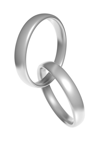 wedding band: Pair of beautiful silver wedding ring bands linked together Stock Photo