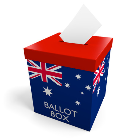 voting paper: Australia election ballot box for collecting votes