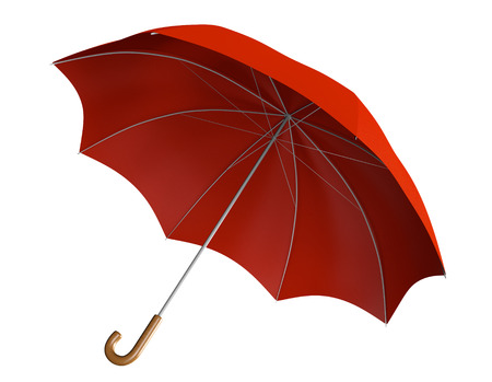 handle: Red umbrella with classic curved handle Stock Photo