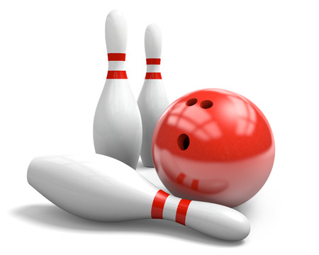 Red bowling ball and pins over a white background