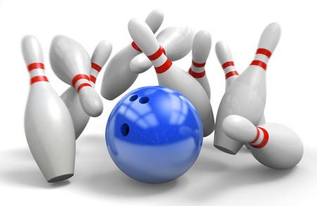 青いボールを 10 ピンのボーリングでパーフェクト ストライクを打つ