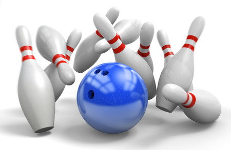 bowling strike: Blue ball hitting a perfect strike on ten-pin bowling