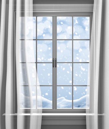 Winter snow gently falling outside the paned window of a house Imagens