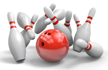 bowl game: Red bowling ball knocking over pins in a perfect strike