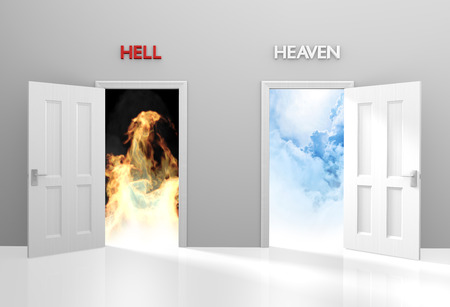 Doors to heaven and hell representing Christian belief and afterlife 스톡 콘텐츠