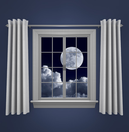 window curtains: Full moon in night sky shining beautifully through a bedroom window Stock Photo