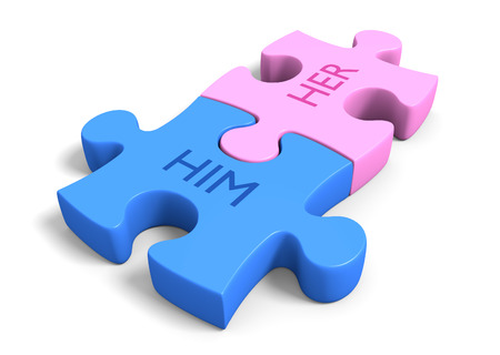 Matchmaking concept of a couple puzzle pieces together with the words him and her Stock Photo