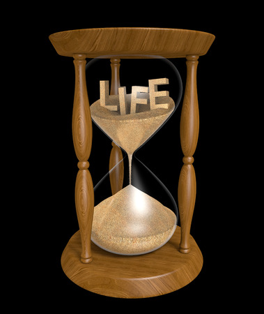 finite: Aging and longevity concept of sand in an hourglass with the word LIFE inside
