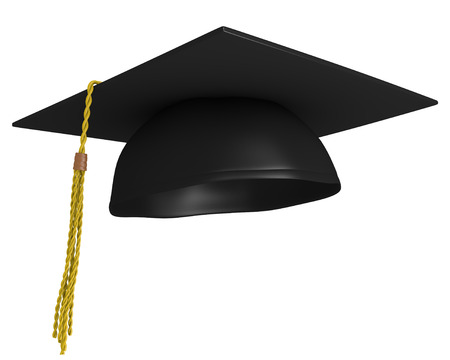 Square academic mortar board, or graduation cap, worn by college grads
